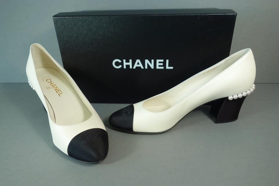 78526b94 Chanel Ivory Black Lambskin Leather & Grosgrain Silk Cc Cap Toe Pearl New  Pumps Size EU 40.5 (Approx. US 10.5) Regular (M, B) 26% off retail