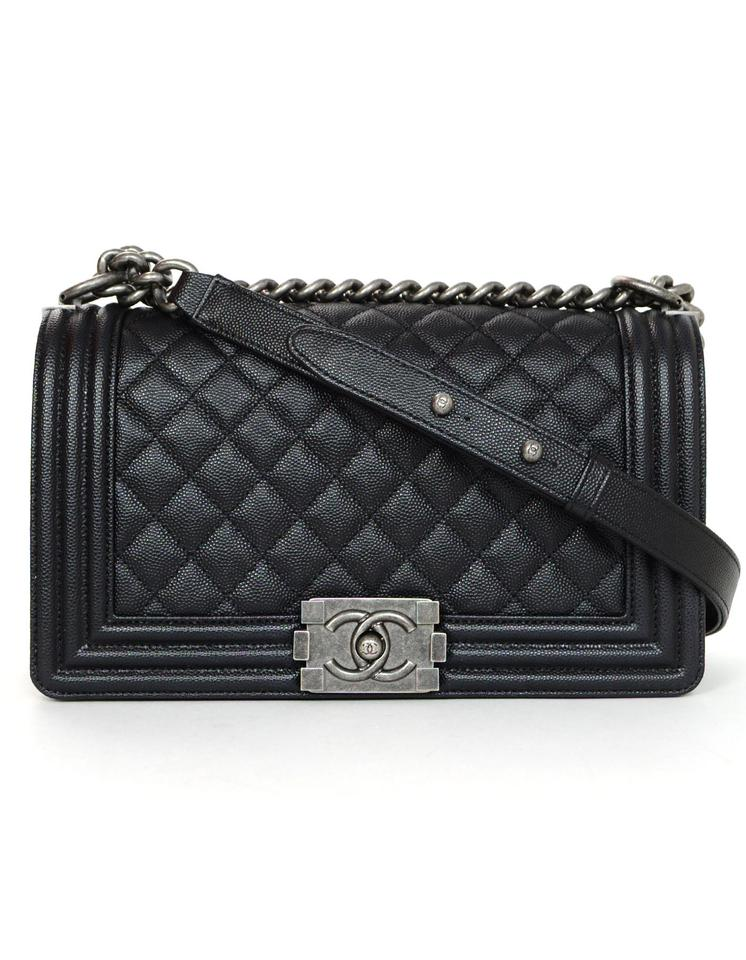 b366821ec523d4 Chanel Boy 2018 Quilted Grained Calfskin Old Medium Black Leather ...