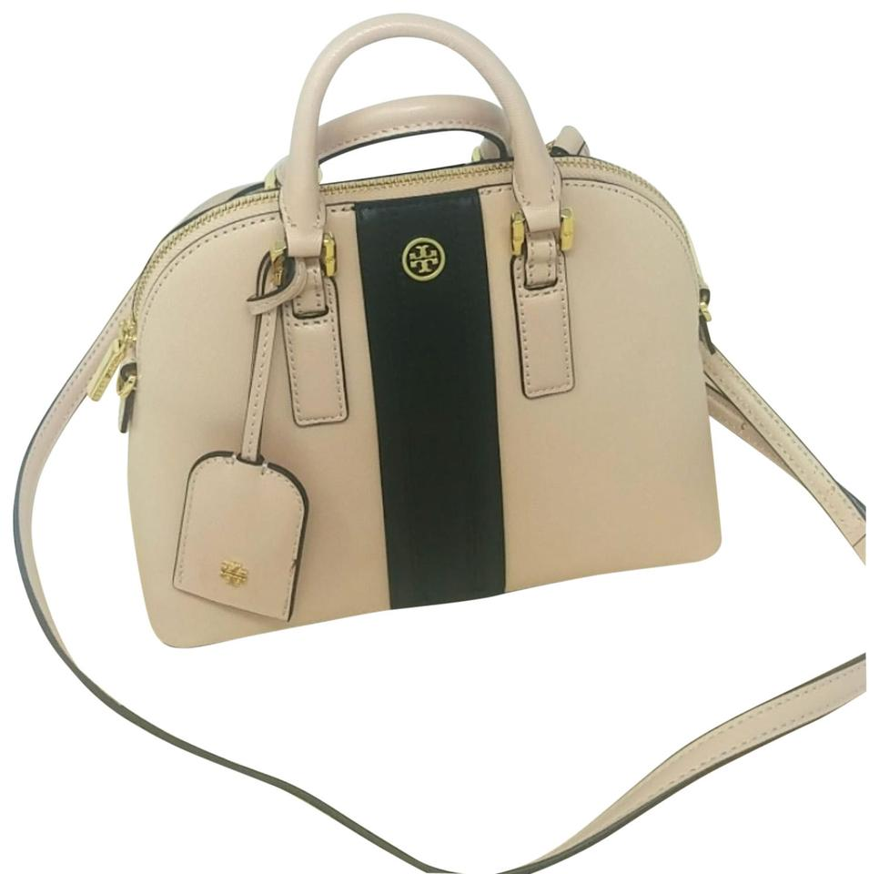 2263e0b09c1b Tory Burch Robinson Rare Striped Mini Dome Light Oak   Black Leather Satchel