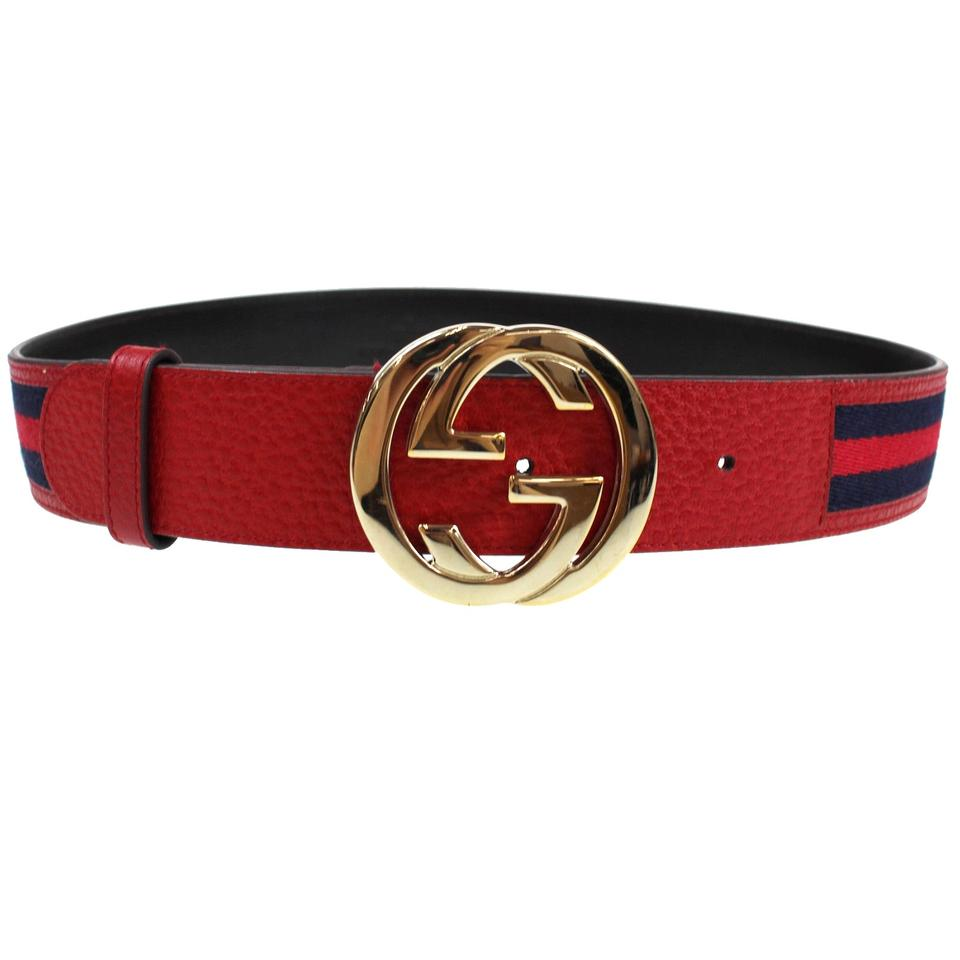 1e1e39c48 Gucci Blue Red Brown Gold Interlocking Gg Web Canvas Leather Belt ...
