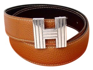 Hermès Hermes Ash H Brown Reversible Leather H Logo Belt 65