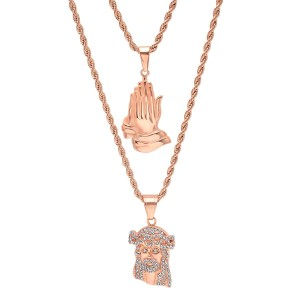 Master Of Bling Men's 14k Rose Gold Praying Hand Iced Out Jesus Combo Pendant Chain