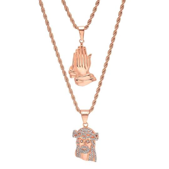 Preload https://item5.tradesy.com/images/master-of-bling-men-s-14k-rose-gold-praying-hand-iced-out-jesus-combo-pendant-chain-necklace-23755329-0-0.jpg?width=440&height=440