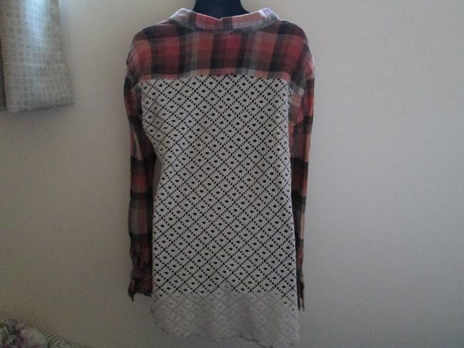 Free People Plaid Eyelet Fall Winter Casual Button Down Shirt Multicolored