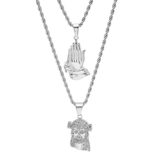Master Of Bling Men's 14k White Gold Finish Praying Hand Icedout Jesus Combo Pendant