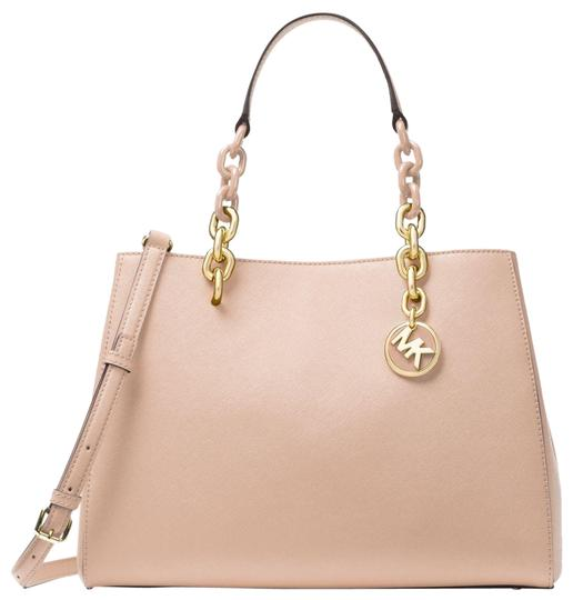 Preload https://img-static.tradesy.com/item/23755375/michael-kors-cynthia-medium-soft-pink-saffiano-leather-satchel-0-1-540-540.jpg