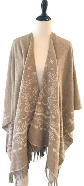 Preload https://item4.tradesy.com/images/beige-tan-nordic-motif-reversible-fringed-shawl-ponchocape-size-os-one-size-23755388-0-1.jpg?width=400&height=650