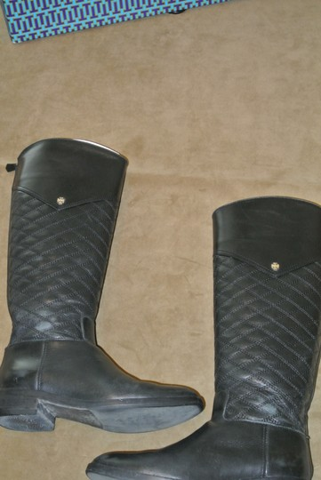 Tory Burch Logo Zipper Quilted Equestrian Riding Black Boots