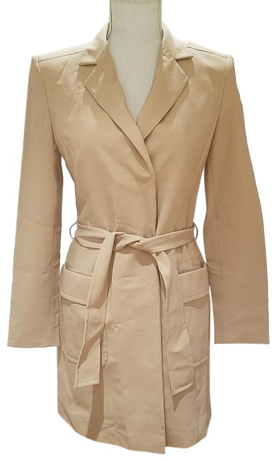 episode Padded Shoulders Full Length Spring Jacket Thin Wool Beige, Nude Blazer
