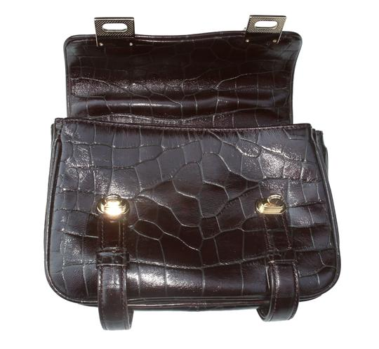 Kenneth Cole Croc Top Handle Handbag Formal Small Satchel in Brown