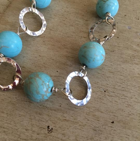 Turquoise and Silver Necklace with Earrings Necklace and Earrings
