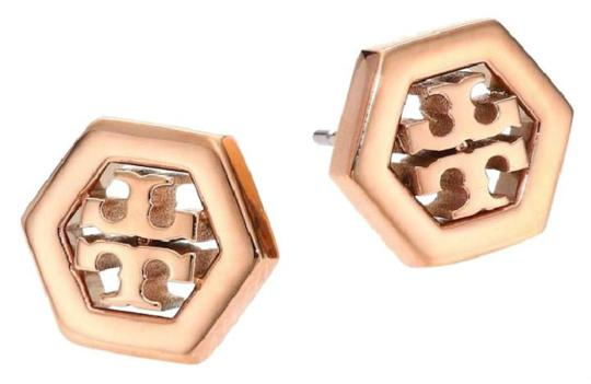 Preload https://img-static.tradesy.com/item/23755541/tory-burch-rose-gold-stud-hex-logo-with-dust-bag-earrings-0-0-540-540.jpg