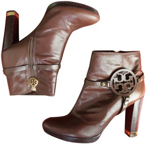 Tory Burch Patent Leather Ankle Brown Boots