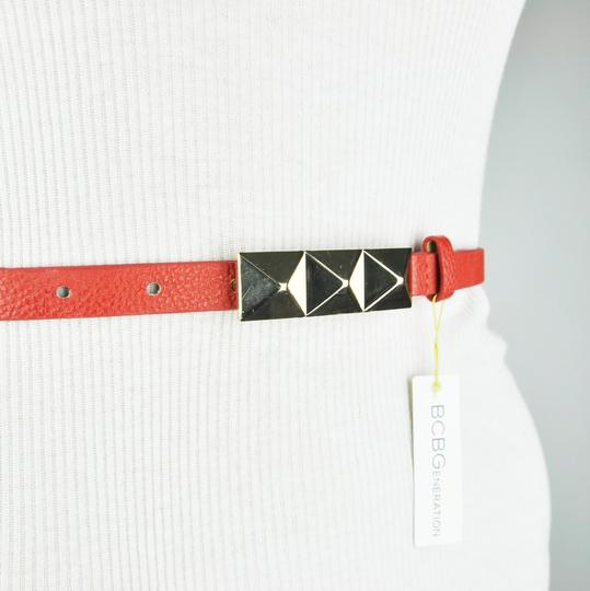 BCBGeneration BCBG Red Gold Pyramid Triangle Studded Buckle Belt