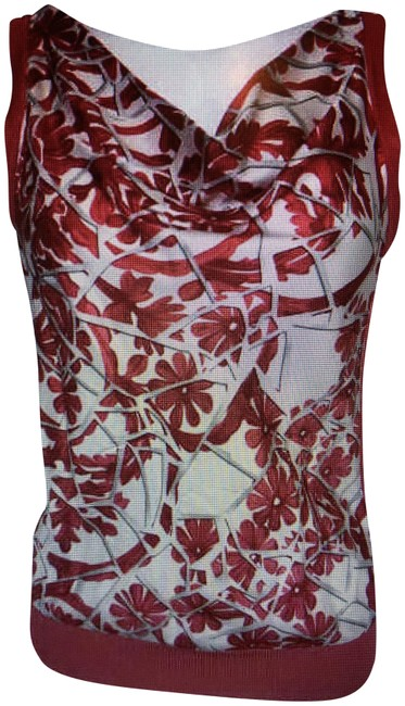 Gucci Silk Sleeveless Cowl Neck Top Red