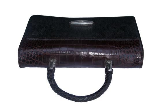 Brighton Croc Top Handle Clutch Wallet Silver Wristlet in Black and Brown