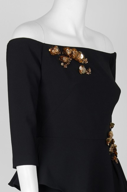 Theia Peplum Off The Shoulder Embellished Dress