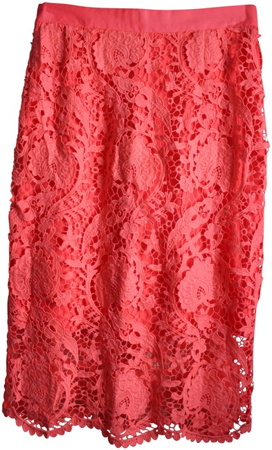 Preload https://item5.tradesy.com/images/miguelina-pink-lace-knee-length-skirt-size-12-l-32-33-23755699-0-1.jpg?width=400&height=650