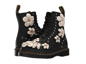 Dr. Martens Leater Lace Up Floral Rare Black Boots