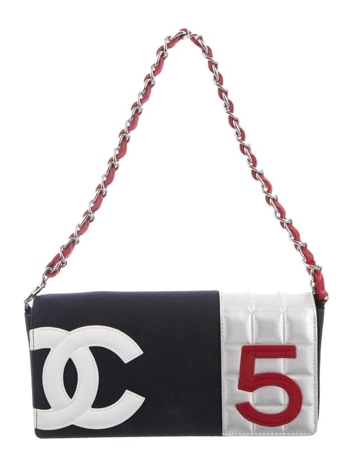 521fdb413ef4e6 Chanel Clutch Cc Logo 5 Chain Purse Navy Red Blue Silver Canvas ...