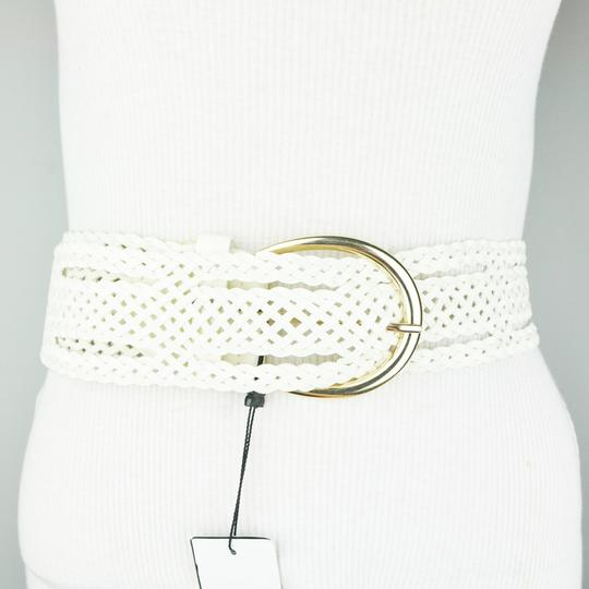 BCBGMAXAZRIA BCBG White Faux Leather Wide Plaited Belt