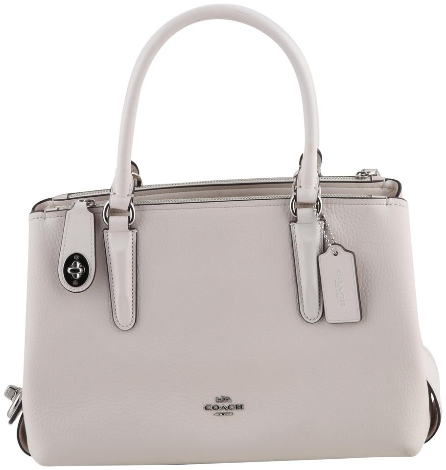Coach Carryall Brooklyn 28 Satchel White Pebbled Leather Shoulder Bag 26 Off Retail