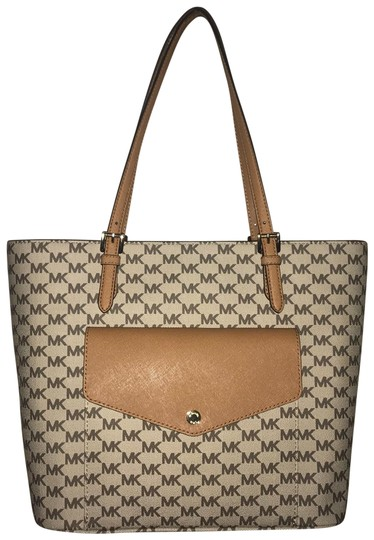 Preload https://item4.tradesy.com/images/michael-kors-tan-brown-gold-accents-jacquard-fabric-leather-trim-tote-23755753-0-1.jpg?width=440&height=440