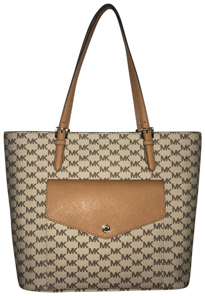 e7e06be9286a Michael Kors Tan Brown Gold Accents Jacquard Fabric; Leather Trim Tote