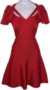 Hervé Leger A-line Sweetheart Party Bodycon V-neck Dress