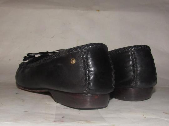 Etienne Aigner Square Pointy Toe Excellent Condition Bow Accent W Tassel Early Style black leather Flats