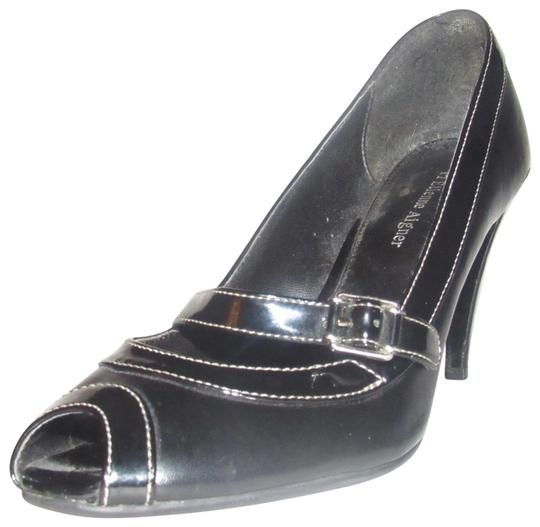 Preload https://item3.tradesy.com/images/etienne-aigner-black-faux-leather-and-black-patent-leather-vintage-shoesdesigner-pumps-size-us-75-re-23755932-0-1.jpg?width=440&height=440