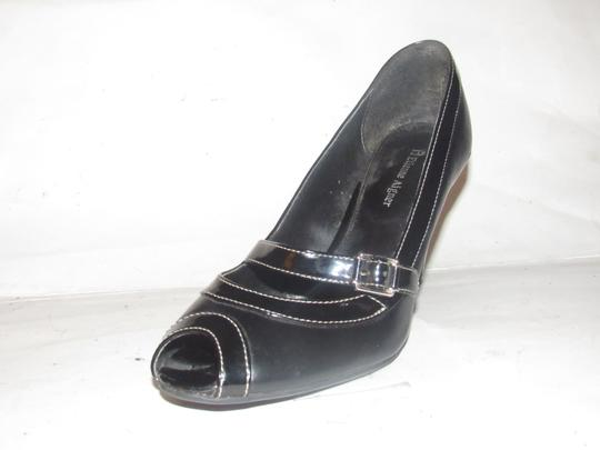 Etienne Aigner Dressy Or Casual Open Toe Style Excellent Condition Cynthia Style Leather/Patent black faux leather and black patent leather Pumps