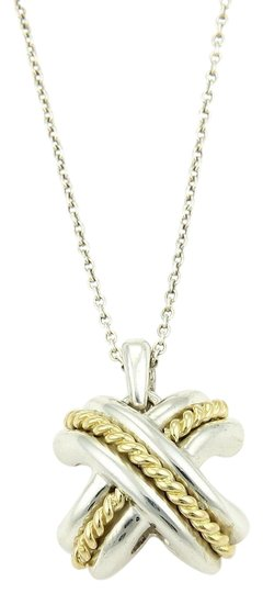 Preload https://item1.tradesy.com/images/tiffany-and-co-sterling-silver-18k-yellow-gold-signature-x-pendant-necklace-23755950-0-1.jpg?width=440&height=440