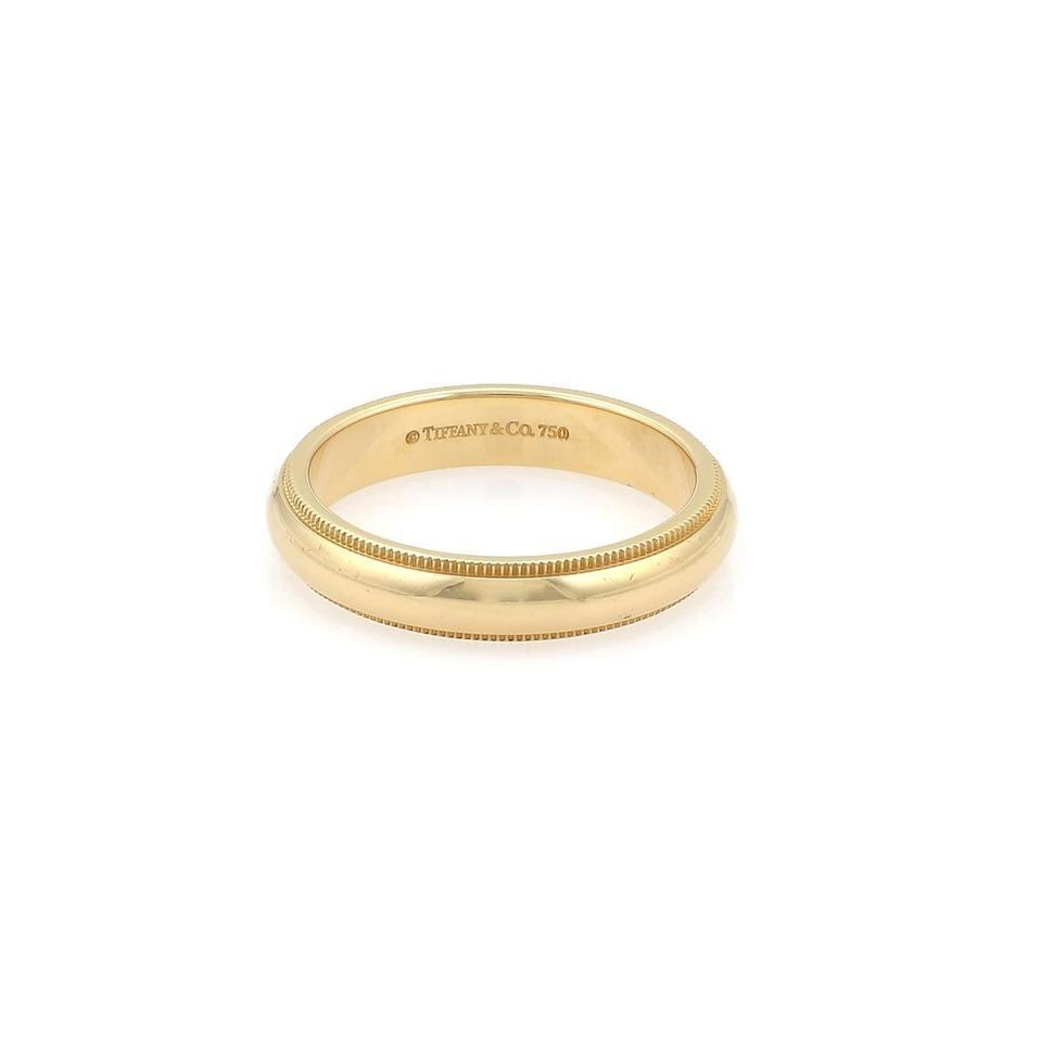 b5d0042d9 Tiffany & Co. Double Milgrain 4mm Wedding 18k Yellow Gold Band Ring Size  7.5 Image ...