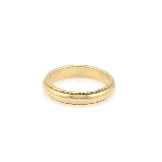 Tiffany & Co. Double Milgrain 4mm Wedding 18k Yellow Gold Band Ring Size 7.5