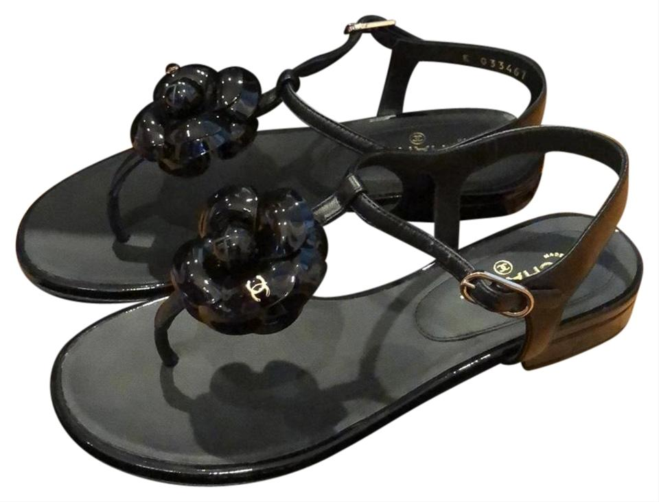 ef5cc599 Chanel Black and Gold Camellia Thongs Sandals Size US 5.5 Wide (C, D)