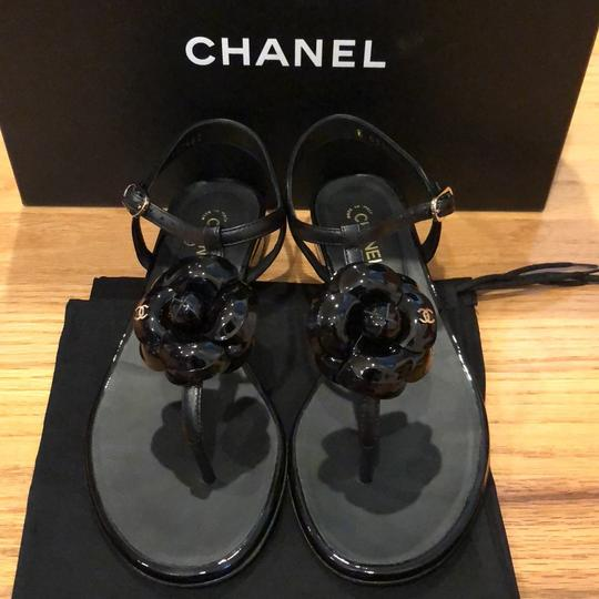 Chanel black and gold Sandals