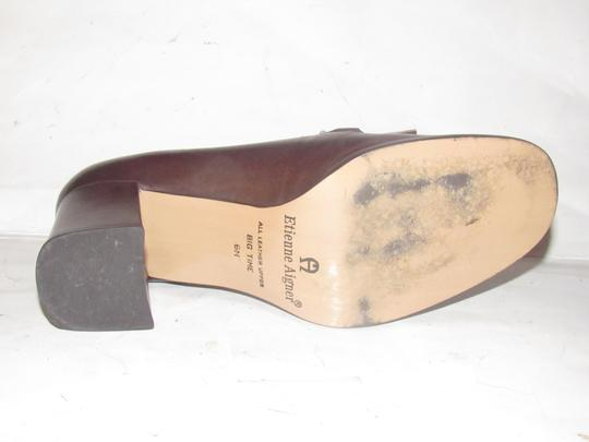 Etienne Aigner Dressy Or Casual Loafer Style Heels New And Unworn Mint Condition brown leather with gold horse-bit accent Pumps
