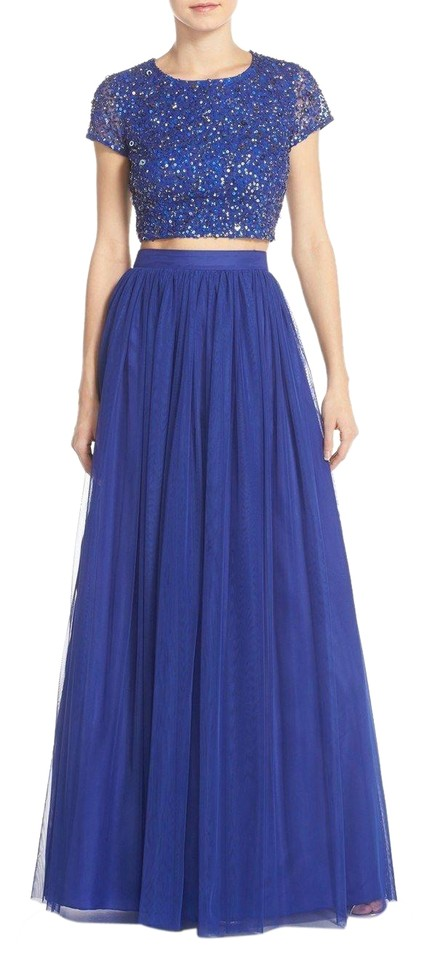 422871cf9f141 Adrianna Papell Neptune Blue Sequin Crop Top and Tulle Skirt Formal Dress