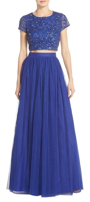 Preload https://item1.tradesy.com/images/adrianna-papell-neptune-blue-sequin-crop-top-and-tulle-skirt-long-formal-dress-size-8-m-23756030-0-1.jpg?width=400&height=650