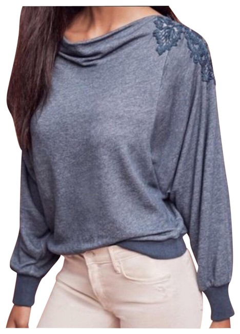 Preload https://img-static.tradesy.com/item/23756035/anthropologie-blue-and-silver-nwot-meadow-rue-bria-lace-back-sweatshirthoodie-size-4-s-0-1-650-650.jpg