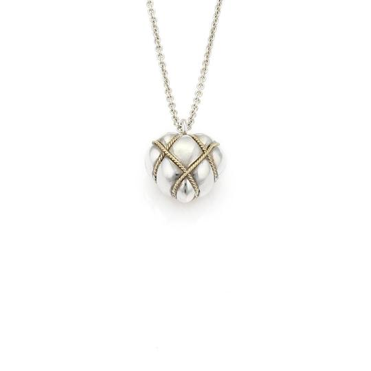 Tiffany & Co. Sterling 18k Yellow Gold Wire Wrap Heart Pendant Necklace