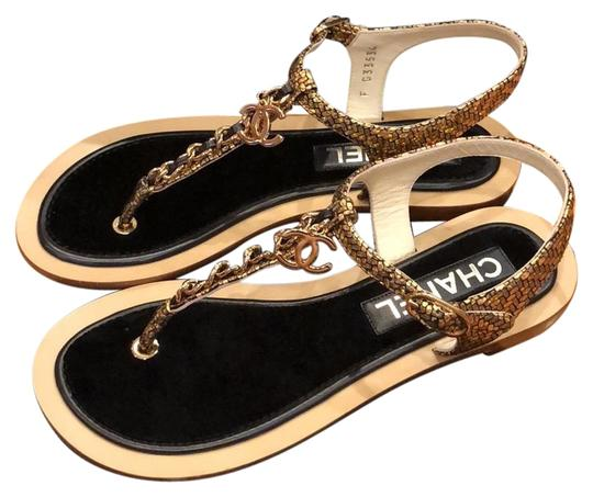 Preload https://img-static.tradesy.com/item/23756039/chanel-black-and-gold-classic-thongs-sandals-size-us-5-wide-c-d-0-1-540-540.jpg