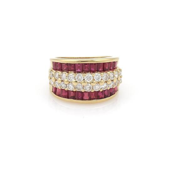 Preload https://img-static.tradesy.com/item/23756066/18k-yellow-gold-420ct-diamond-and-ruby-13mm-wide-dome-band-ring-0-0-540-540.jpg