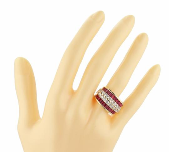 Other 18k Yellow Gold 4.20ct Diamond & Ruby 13mm Wide Dome Band Ring