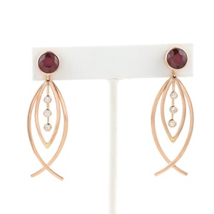 Other Estate 6.20ct Ruby & Diamond 18k Rose Gold Drop Dangle Earrings
