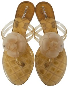 Chanel Jelly Glitter Interlocking Cc Camellia Gold Hardware Beige Sandals