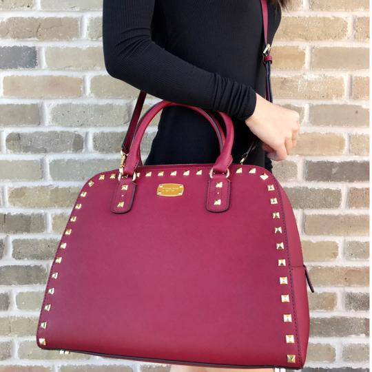 Michael Kors Sandrine Studded New With Tag Satchel in Cherry Red