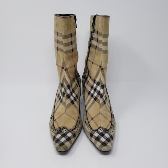 Burberry Pointed Toe Nova Check Ankle House Check Gold Hardware Beige Boots