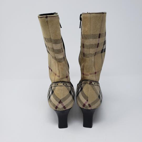Burberry Pointed Toe Nova Check Ankle House Check Gold Hardware Beige, Black, Multicolor Boots